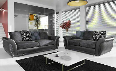 Awesome Verona New Large Grey Silver Sofa Fabric Corner 3 2 1 Or Left Right Chesterfield Home Interior And Landscaping Mentranervesignezvosmurscom