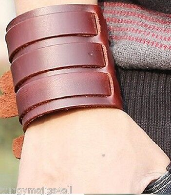 Genuine Leather Wide Wristband Wrist Strap Band Cuff Black Brown Bracelet Punk