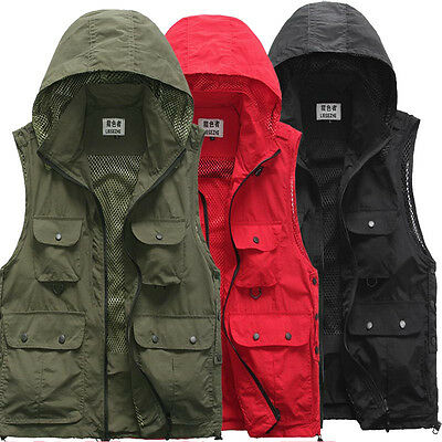 UK Men QuickDry MultiPocket Travel Fishing Photography Vest Jacket Removable Hat