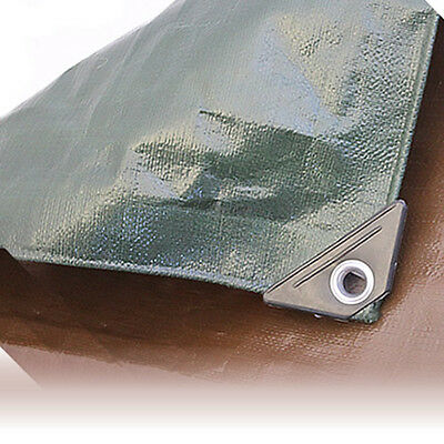Brown/green Heavy Duty 250Gsm Waterproof Tarpaulin With Eyelets Various Sizes