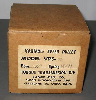 "Nos Variable Speed Pulley Torque Rampe Mfg. Vps-20 1/2"" Bore 3.5 Diameter W/box"