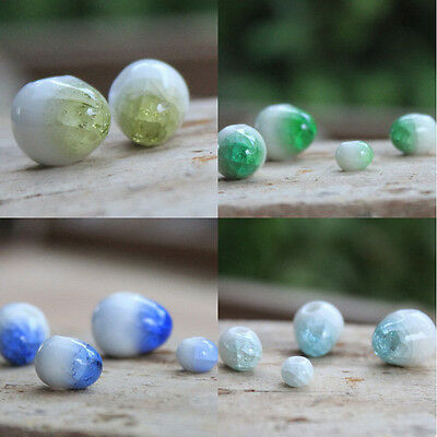 50pcs Charming! Pottery Ice Crack Ceramic Beads For DIY accessories
