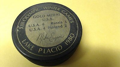 Mike Eruzione 1980 Lake Placid Olympics TEAM USA Gold Medal Puck Mike Eruzione