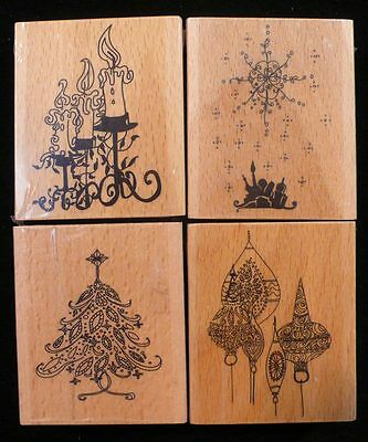CHRISTMAS Set of 4 Rubber Ink Stamps - Candles, Xmas Tree, Star, Ornaments