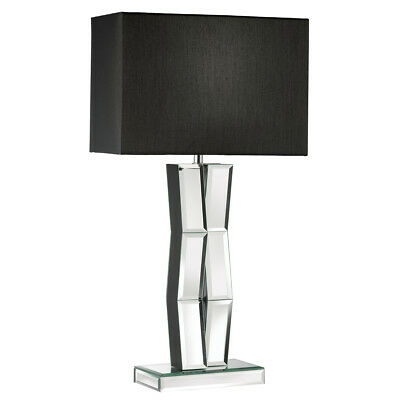 Searchlight 5110BK Mirrored Table Lamp With Black Oblong Faux Silk Shade