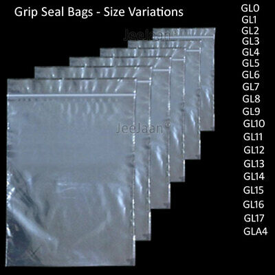 100 STRONG Grip Press Seal bags Resealable Self Clear ALL SIZES Cheapest FAST