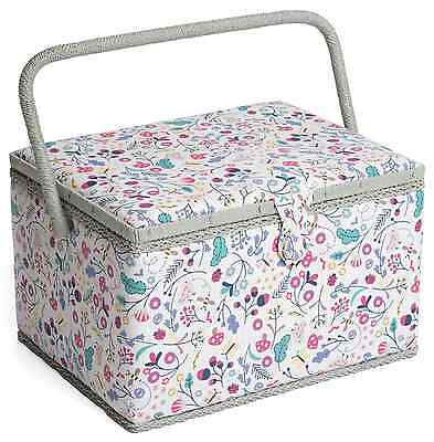 LARGE Sewing Box - Fabric Sewing Basket with Handle & Tray Hobbygift Spring Time