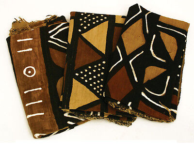 """Authentic Bambar Mudcloth 63"""" x 45"""" Fabric African Mali Mud Cloth Handwoven"""