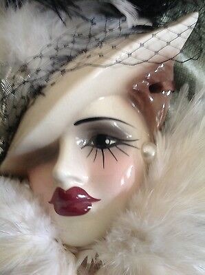 Unique Creations Lady Face Mask Hanging Wall Decor Feathers Bk & Wh & Pearl