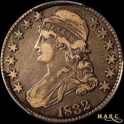 1832 XF40 PCGS 50C Capped Bust Half Dollar, Med Toning, Great Eye Appeal! MARC
