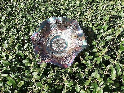 Fenton electric blue medialion leaf and chain with cherries/bearded berry bowl