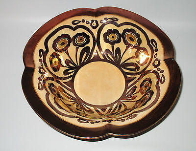 Gold Peach Lustre Bowl Hand Painted Flowers Artist Signed Luster Ware Burnished