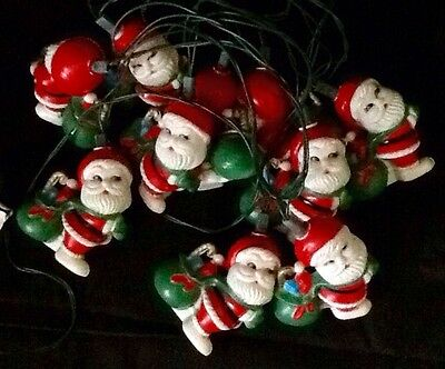 Silvestri Blow Mold Santa Claus Vintage Christmas Light String 10 Holiday Lights USD 34.99 - PicClick