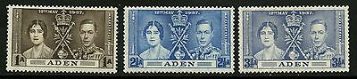 Aden   1937    Scott #13-15   Mint Very Lightly Hinged