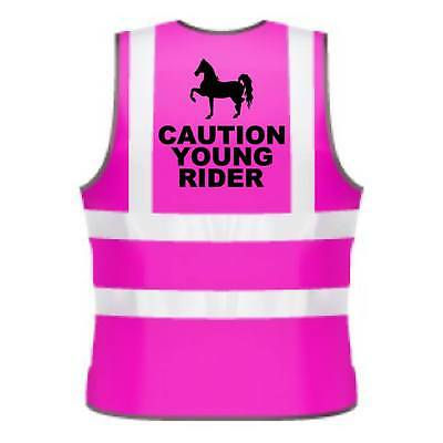 Kids Hi-Viz Printed Caution Young Rider Safety Wear For Horse Riding
