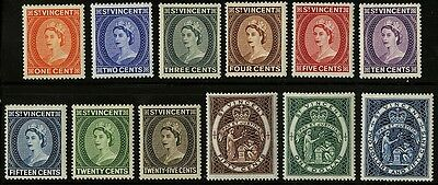 St Vincent   1955  Scott #186-197  Mint Lightly Hinged Set