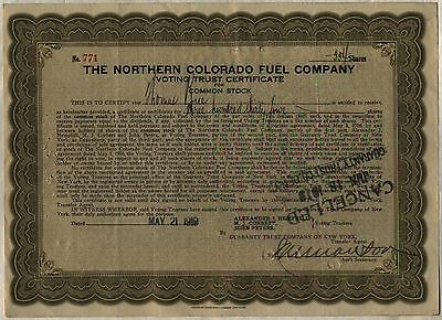 Northern Colorado Fuel Company Voting Trust Stock Certificate