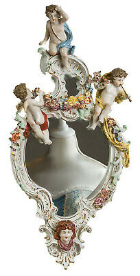 Cherub mirror - wall mount - angel floral antique style - porcelain
