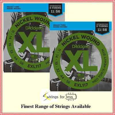 D'Addario EXL117 Nickel Wound Drop Tuning Guitar Strings 11 - 56   2 sets