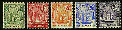 St Vincent   1907  Scott #90-94  MH Set