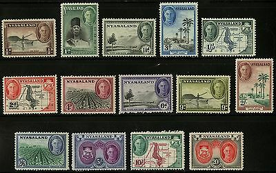 Nyasaland  1945  Scott #68-81  Mint Very Lightly Hinged Set