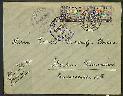 Finland   1930   Scott # C1  USED pair on cover