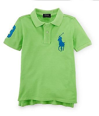 New Ralph Lauren Boys Embroidery Polo Shirt Big Pony Green 'l' (14-16) Msrp45