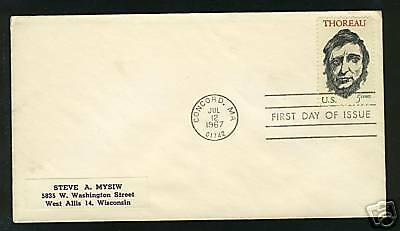 "USA  1967  FDC  Scott # 1327  ""Henry Thoreau"""