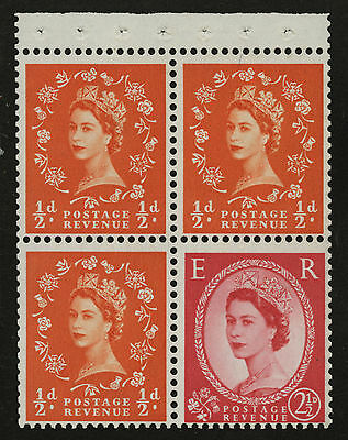 Great Britain   1958-65   Scott # 353e    Mint Never Hinged Booklet Pane