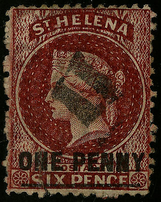 St Helena   1864-73   Scott # 11   USED - Perforated 12.5