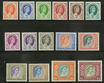Rhodesia & Nyasaland  1954-56  Scott #141-155 MLH Part Set