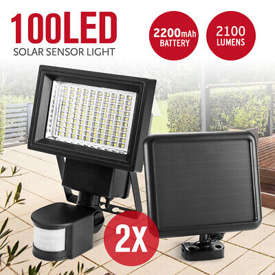 2X 100LED Ultra Bright Solar Sensor Security Light Lamp Motion Detection