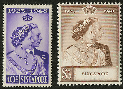 Singapore   1948  Scott # 21-22  Mint Lightly Hinged Set