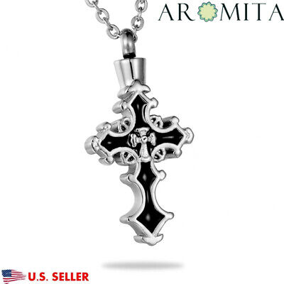 VALYRIA Gothic Cross on Cross Cremation Jewelry Keepsake Memorial Urn Necklace