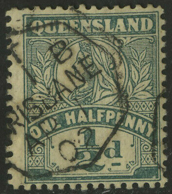 Queensland   1899   Scott # 124   USED Perf 13 - large margin