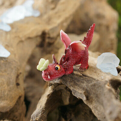 Miniature Dollhouse FAIRY GARDEN ~ Mini Red Dragon Playing With Butterfly ~ NEW