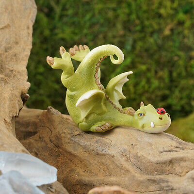 My Fairy Gardens Mini - Green Dragon Playing With Ladybug - Supplies Accessories