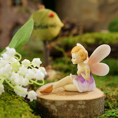 "2.25"" My Fairy Gardens Mini Figure - Purple Flower Fairy - Miniature Figurine"