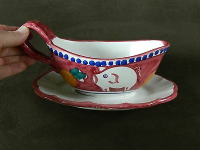 Vietri Solimene Campagna Italy Pig & Carrot on Red 1 pc Gravy Sauce Boat