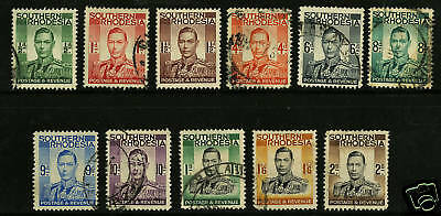 Southern Rhodesia  1937  Scott # 42-52  USED Part Set