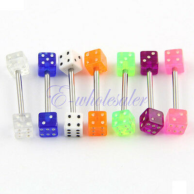 Assorted Lot 7 MIXED Dice Tongue Nipple Ring Barbells BAR Acrylic JW448 DG