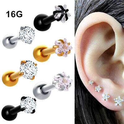 730151771 1 Pair 16G 3mm CZ Gem Ball Ear Cartilage Tragus Helix Stud Earring Body  Piercing