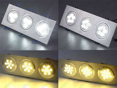 Triple-Head LED Ceiling Spot Light Fixture Square Cafe Hall Store Bedroom Lamp