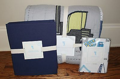 NWT Pottery Barn Kids Colby Construction twin quilt, sheet & pillowcase truck