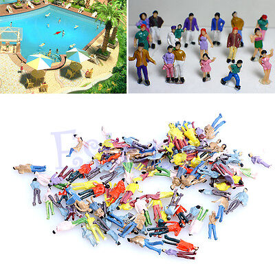 100PCS Painted Model People Train Building Layout Painted Figures HO Scale 1:100