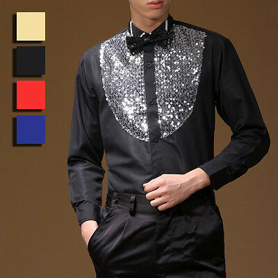 Men Latin Dance Shirt Rumba Ballroom Top Costume Sequin Dancewear Blouse No Tie