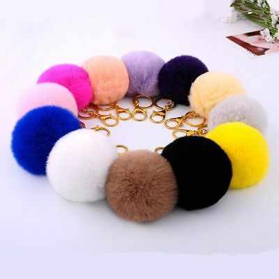Fur Pom Keychain for Women Bag Fashion Car Rabbit Fur Ball Key Chain 8cm