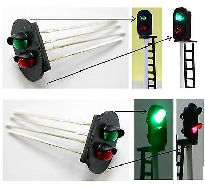 N.1 SUPPORT for SIGNAL 2 LIGHT mm.10x13 with LED RED and GREEN for SCALE-N e HO