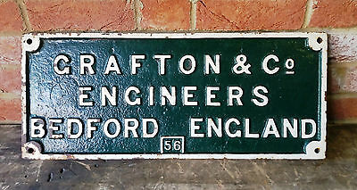 Interesting Old Cast Iron-Grafton & Co Engineers Bedford England 56-Vintage Sign