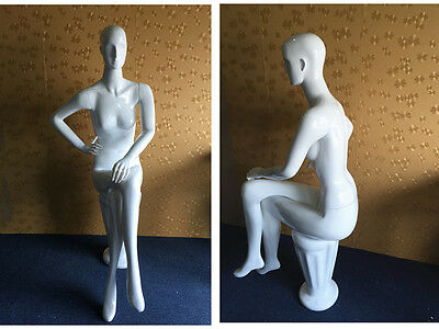 Female Mannequin Seated White High Quality Tailor Dress Shop Window Display